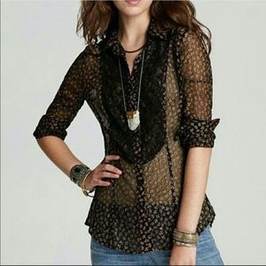 Free People All That Glitters Sheer Blouse
